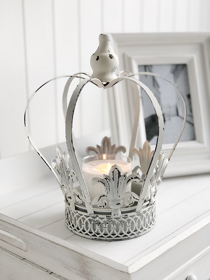 White home decor accessories. large vintage distressed white crown candle holder