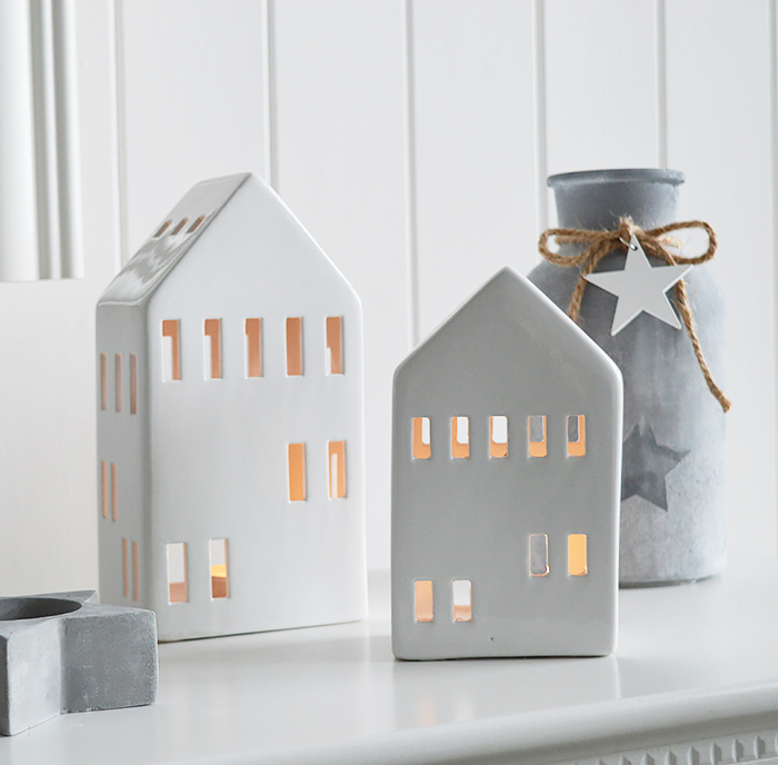 White Candle holders. Town house tea light holders for New England styled home interiors