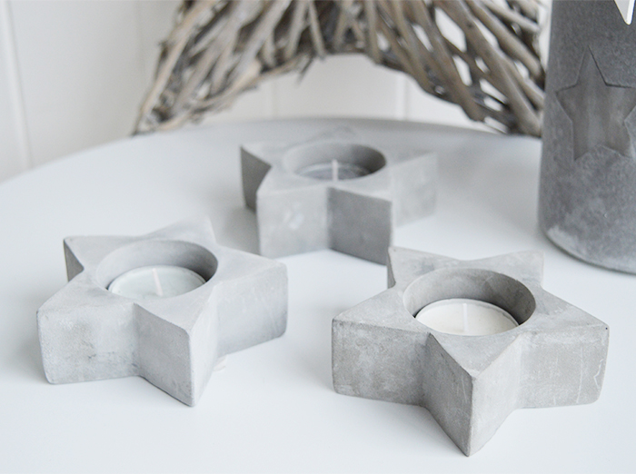 Set of 3 Grey Stone Tea Light Holders from The White Lighthouse New England White Country and Coastal Furniture for the hallway