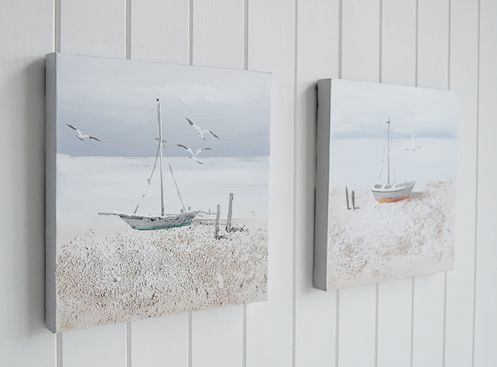 Set of 2 hand painted oil canvases of coastal  boat scene