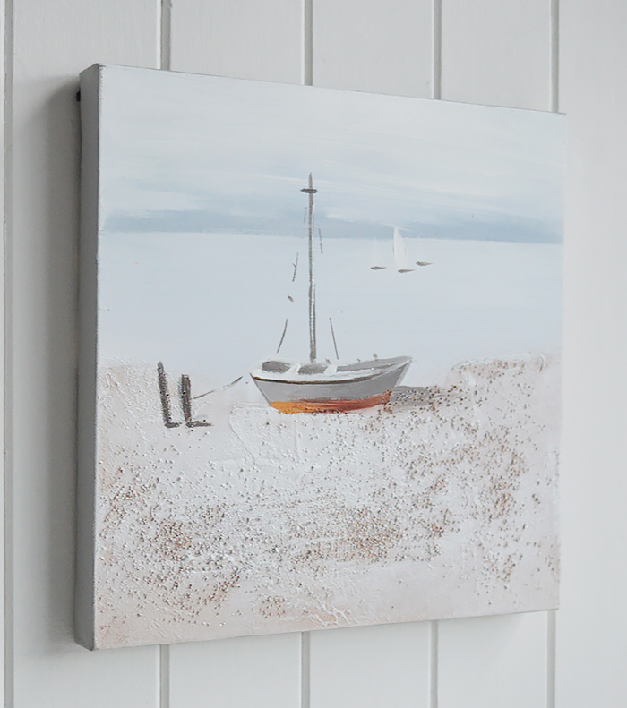 Set of 2 hand painted oil canvases of beach  boat scene