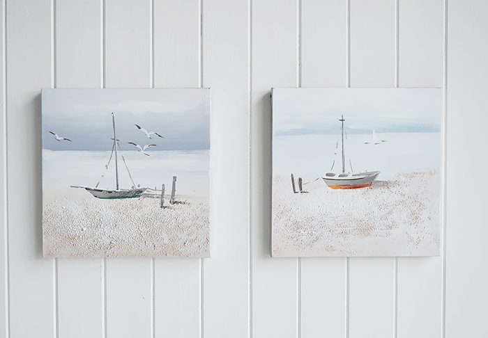 Set of 2 hand painted oil canvases of nautical boat scene