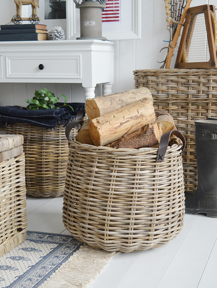 Casco Bay Grey Basketware Willow Shopping Basket From The
