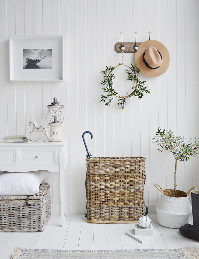 A large narrow grey willow umbrella basket from The White Lighthouse Hallway furniture for white, New England, country, coastal and country homes and interior design
