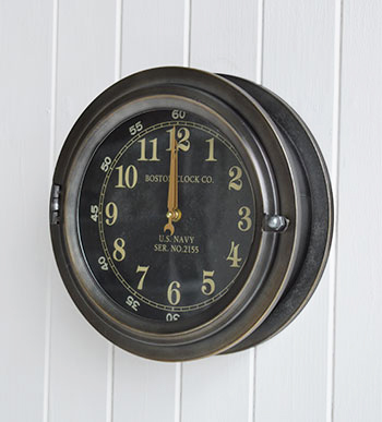 Boston porthole clock for homes by the sea