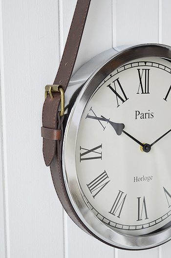 Bathroom Wall Clocks: Chrome Wall Clock On Vintage Belt