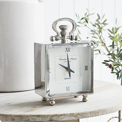 Our silver Kensington mantel clock. 