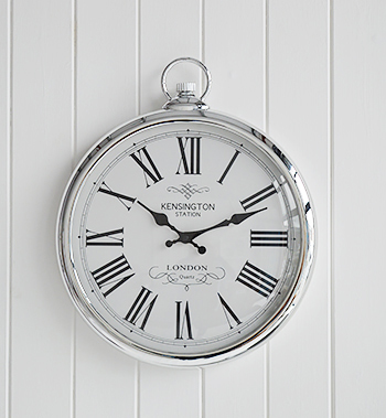 Polished Silver Wall Clock New England Furniture And Accessories