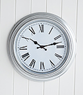 Silver and white wall clock