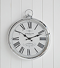 Polished silver wall clock