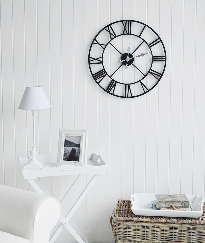 Kensington extra large wall clock with no back in a white living room