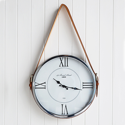 Kensington Silver Wall Clock with faux leather belt for luxury homes interiors