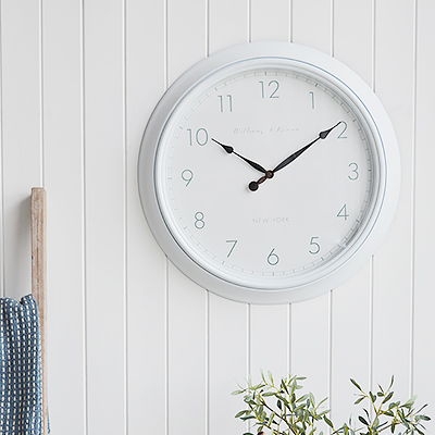 Boothbay large white wall clock for New England styled homes