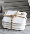 Set of 4 white and grey marble coasters