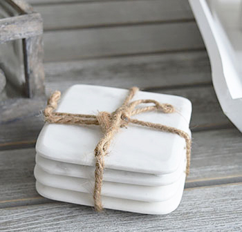 A Set Of White Marble Coasters The White Lighthouse Home