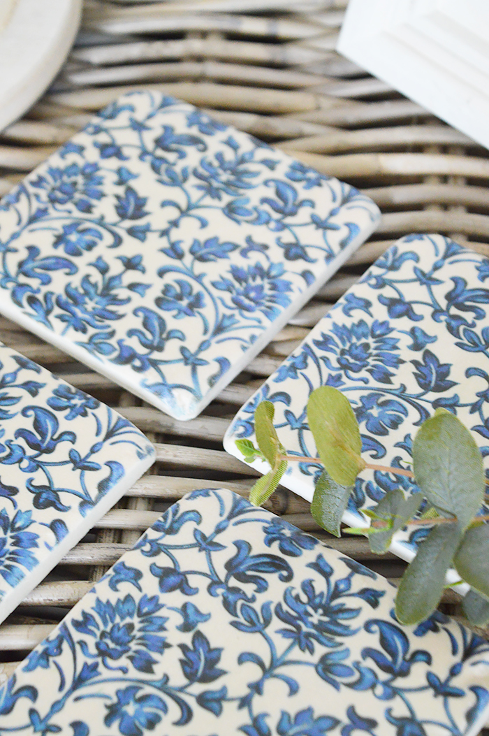 Blue and white floral ceramic coasters for New England country, coastal and white home interiors