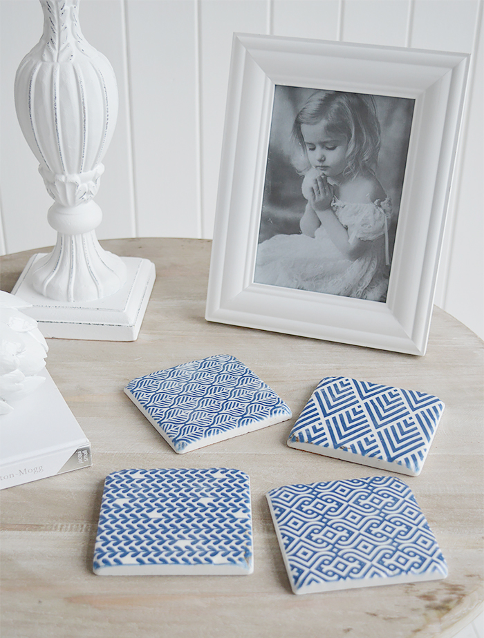 Blue and White Geometric coasters