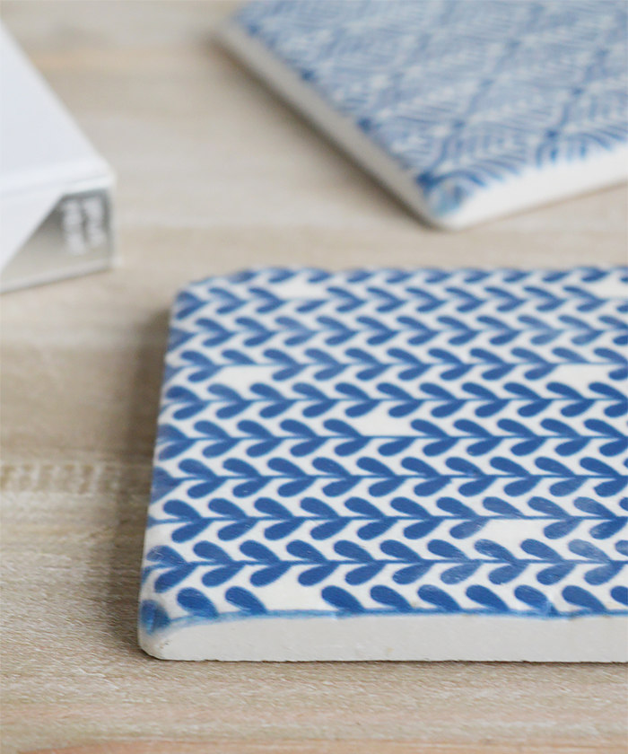 Blue and White Geometric coasters set of 4