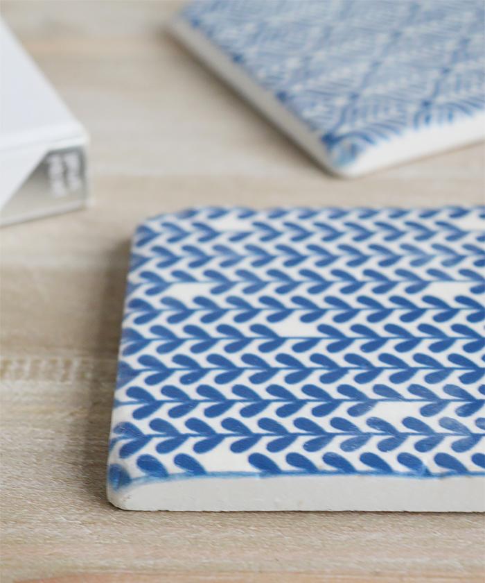 Blue and White Geometric coasters set of 4