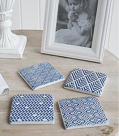 Blue and White Geometric Coasters Tiles Aged
