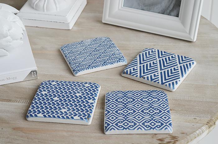 Blue and White Geometric coasters