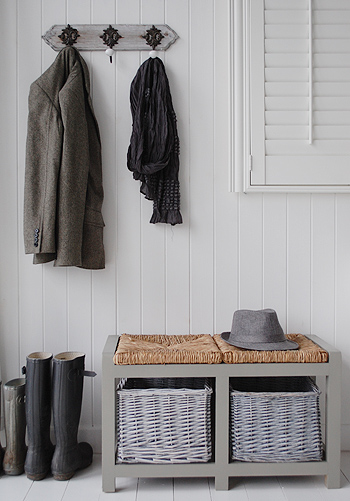 Grey hall furniture with the grey storage bench and Regency grey coat hooks