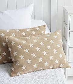 The White Lighthouse New England Style Interiors and furniture - Beige star cushion