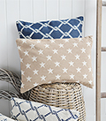 Nautical style cushion with stars