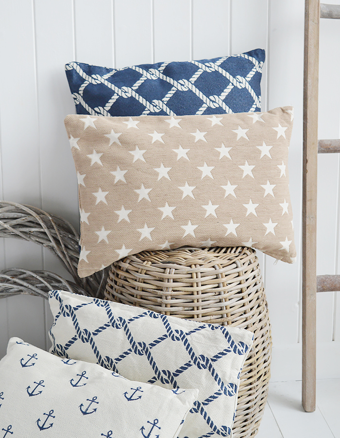 A range of coastal cushions in navy and off-white with inner. The decorative cushions create a special atmosphere combined together or placed separately £15 for New England interiors and homes