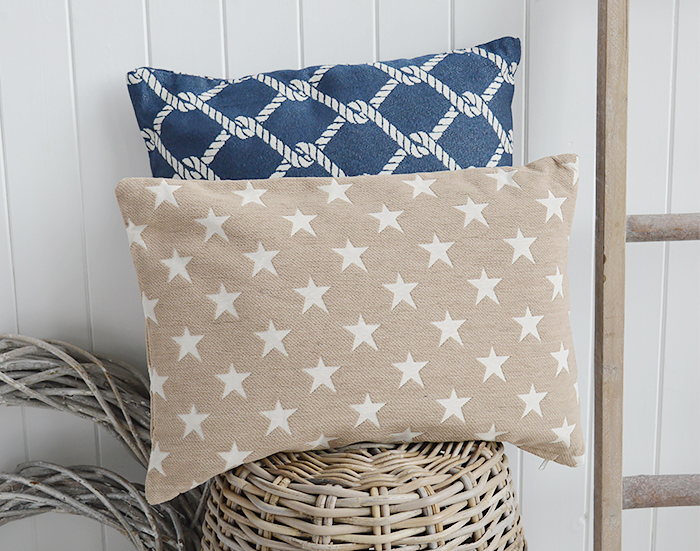 The White Lighthouse New England Style Interiors and furniture - Beige star cushions