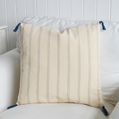Vintage linen style cushion with navy stripe