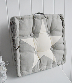 Grey star box cushion for benches or seats or as a floor cushion from The White Lighthouse Furniture for New England coastal, country and city home interiors