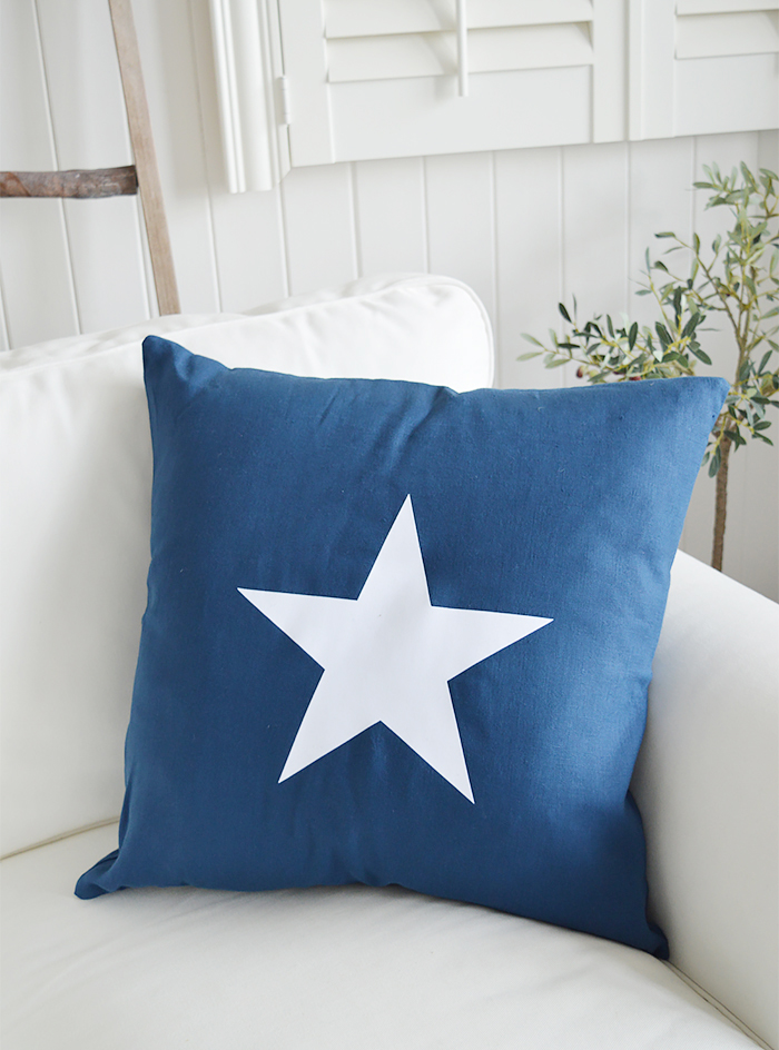 Newhamptons linen cushion in navy stars from The White Lighthouse furniture for New England, country and coast home interiors. Hallway, Living room, bedroom and bathroom
