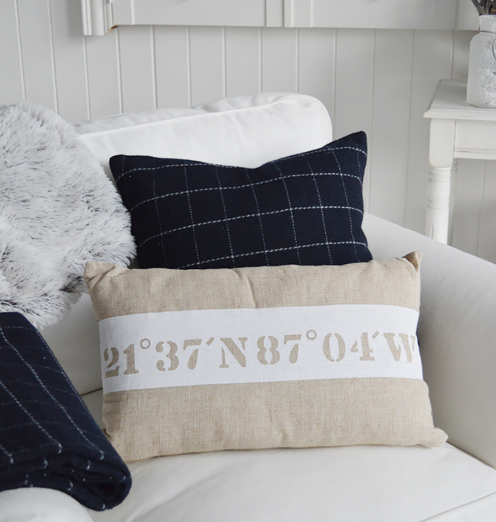 Coastal Nautical Natural Cushion for New England and white interiors style homes