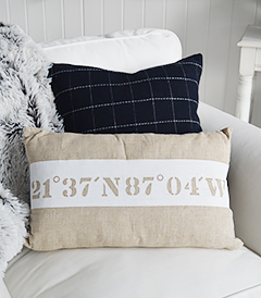 Nautical Coastal cushion in a natural colour for New England coastal interior design