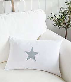 Newhamptons linen cushion in white and grey stars from The White Lighthouse furniture for New England, country and coast home interiors. Hallway, Living room, bedroom and bathroom - singlestars