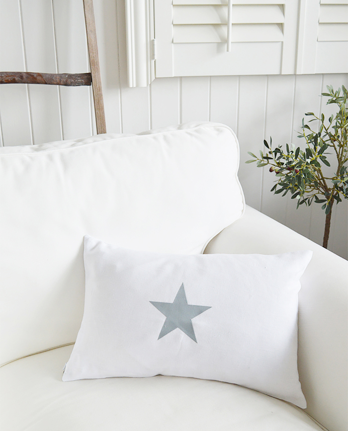 Newhamptons linen cushion in white and grey stars from The White Lighthouse furniture for New England, country and coast home interiors. Hallway, Living room, bedroom and bathroom - single star