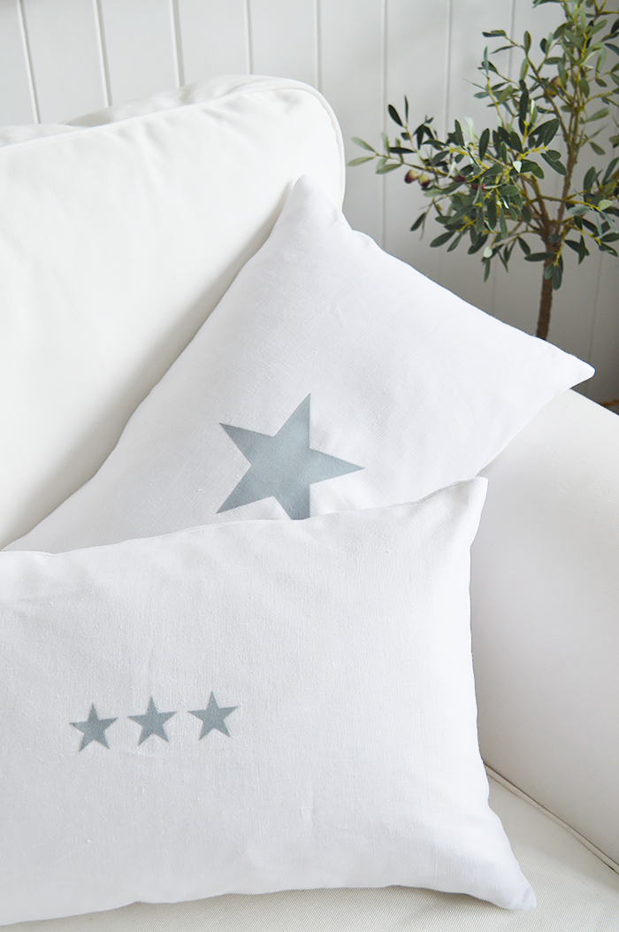 Newhamptons linen cushion in white and grey stars from The White Lighthouse furniture for New England, country and coast home interiors. Hallway, Living room, bedroom and bathroom