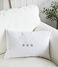 White and grey stars newhampton linen cushion for New England, country and coastal interiors
