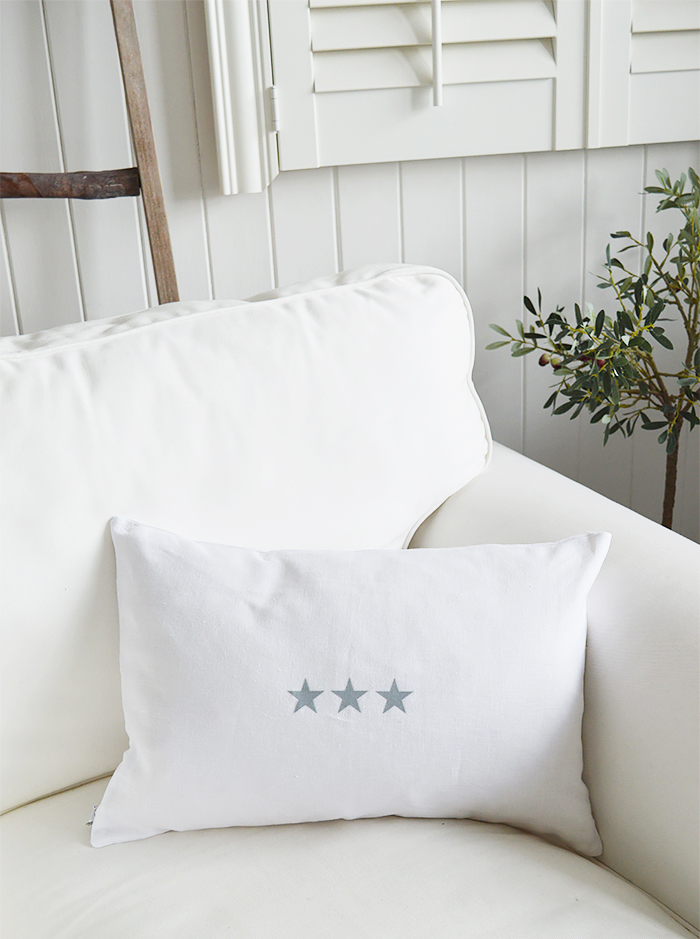 Newhamptons linen cushion in white and grey stars from The White Lighthouse furniture for New England, country and coast home interiors. Hallway, Living room, bedroom and bathroom - triple stars