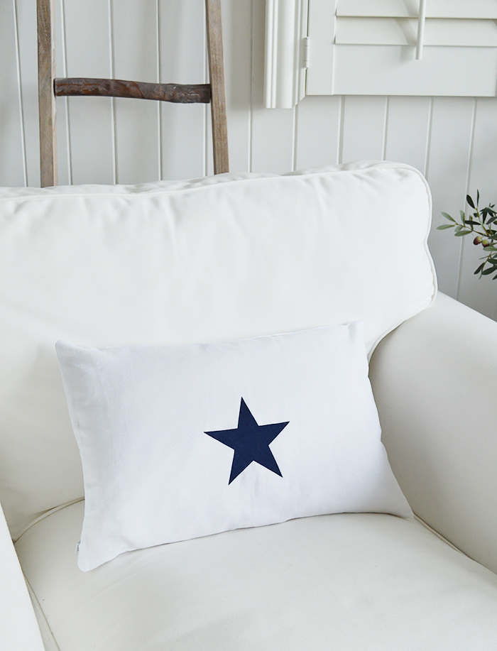 Newhamptons linen cushion in white and navy stars from The White Lighthouse furniture for New England, country and coast home interiors. Hallway, Living room, bedroom and bathroom - single star