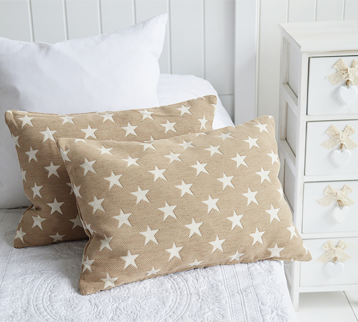 Coastal style cushions. Beige with stars