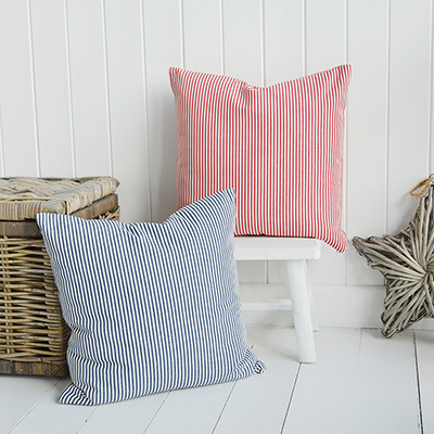 Our Cape Cod striped cushion cover in two colour ways - Navy and white and red and white. Team our Cape Cod stripes with accents of sun bleached colour to channel the spirit of summer by the coast.	  A very versatile design to work in any interiors but is perfect for conjuring up a summer beach feel for New England country and coastal homes