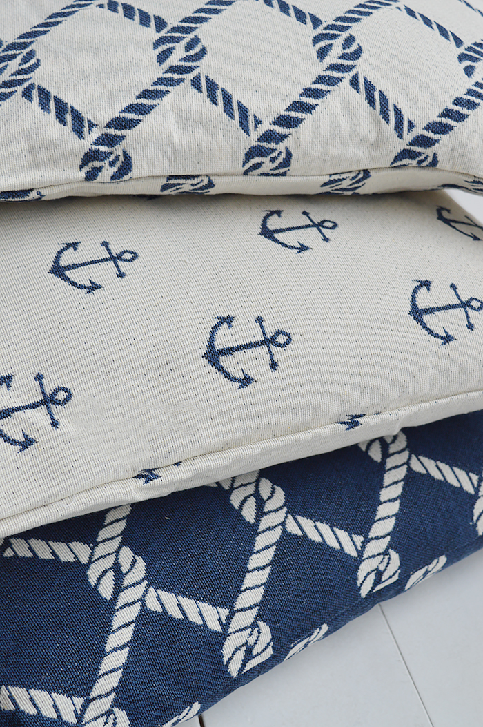 The White Lighthouse new England Home Interiors and Furniture - Coastal navy Cushions