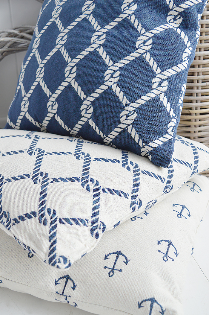 The White Lighthouse new England Home Interiors and Furniture - Coastal Cushions with anchor