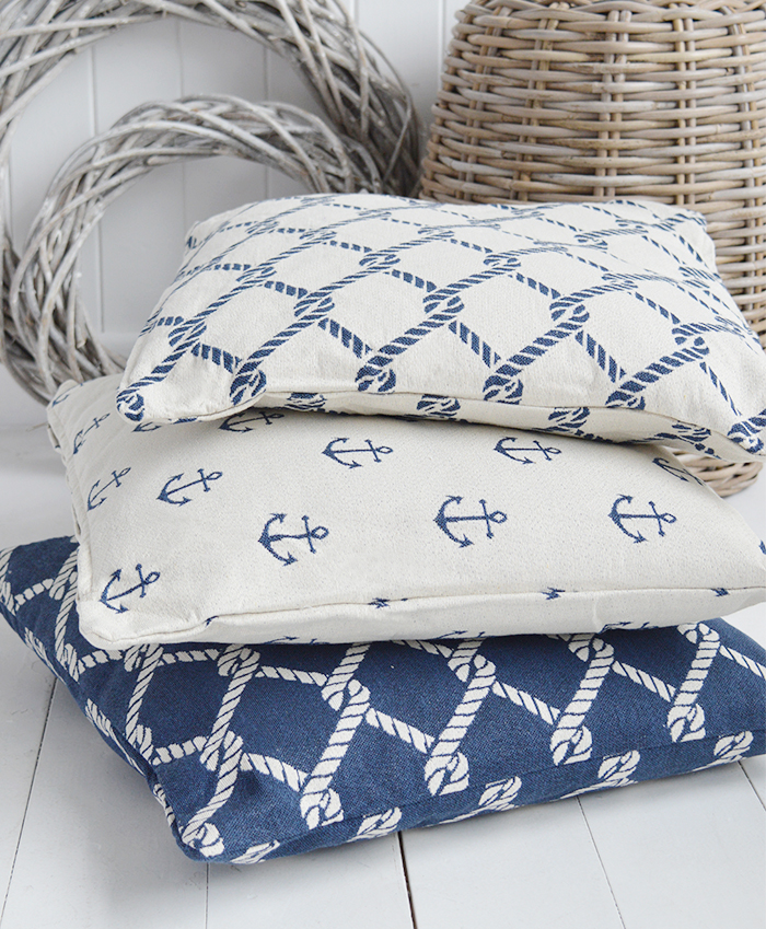 The White Lighthouse new England Home Interiors and Furniture - Coastal Cushions in navy rope and anchor