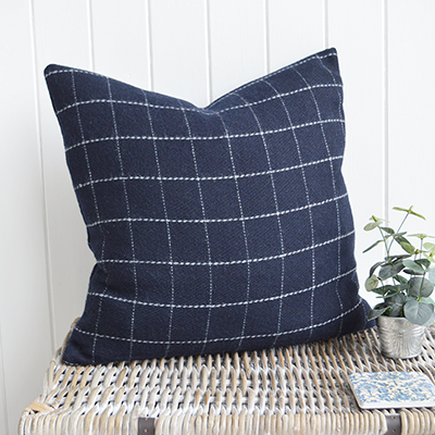 Our stunning Hampshire wool cushions in navy and ivory checks and stripes.