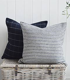 New England navy and white checks and stripes cushions