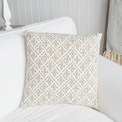New England Style Country, Coastal and White Furniture and accessories for the home. New England cushions and soft furnishing - Lexington Cushion Cover in linen and navy