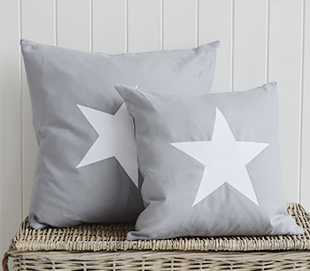 New Hamptons Grey White Cushion